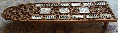 """"""" CRIBBAGE """"  Antique Chinese Carved Cribbage Board  / Dragon Carving Paw Feet"""