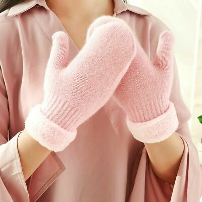 Women Autumn Winter Thicken Warm Faux Fleece Plush Cotton Knitted Glove Mittens
