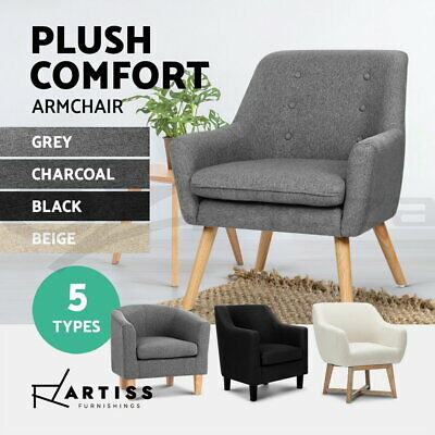 Artiss Upholstered Armchair Tub Dining Chairs Single Accent Sofa Lounge Fabric