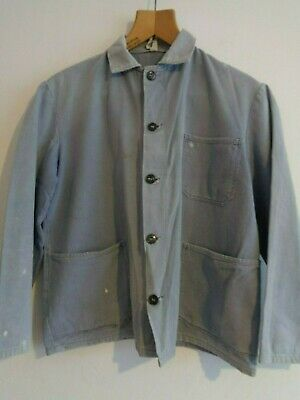 Vtg French sun faded cotton indigo blue hobo work chore worker jacket