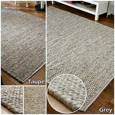 100% Wool 3D Clearance Small - Large Thick Light Grey Pebbles Bobbles Sale Rugs
