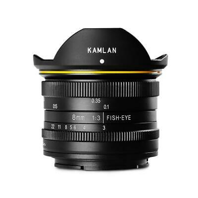 KamLan 8mm f/3.0 Manual Focus Fisheye Lens for Fujifilm X Mount #M0830B