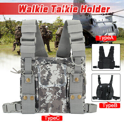 Radio Walkie Talkie Chest Pocket Harness Backpack Bag Holster Pack Pouch Nylon