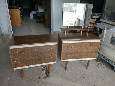 Vintage Retro Stunning Pair Of Chest Of Drawers & Dressing Table With Mirror