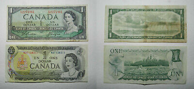 Canada : 2 Old One Dollar Banknotes 1954 & 1973