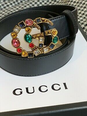 f599ff4cd18 GUCCI Leather Double G Crystal Buckle Belt With   Gift Receipt