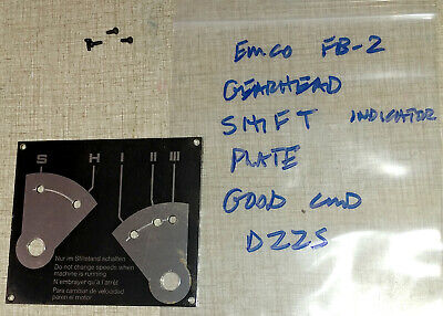 Emco FB-2 Mill Drill Super 11 Lathe Parts: Gear Shift Plate D22S