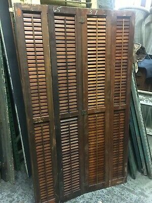 "circa 1930-40 solid mahogany interior louvered shutters PANEL 65"" h x 37"" across"