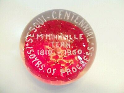 Vintage Glass Souvenir Paperweight McMinnville Tennessee Anniversary 1810 - 1960