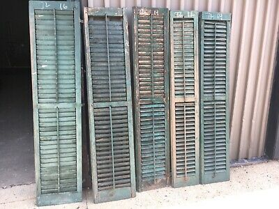 "lot of 5 victorian louvered house window SHUTTERs OLD worn paint 72"" h x 12-16"""
