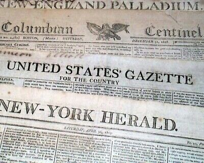 Lot of (5) Early 19th Century Pre War of 1812 - 1802-1809 Original NEWSPAPERS