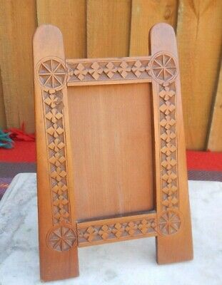 Antique Edwardian Arts & Crafts Carved Wood Easel Back Photograph Frame