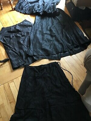 antique victorian black mourning lot  slips or skirts