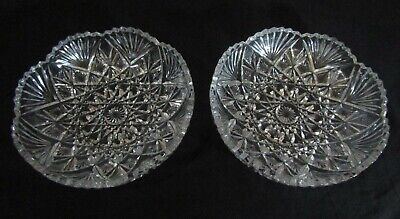 Vintage Bohemian Czech Crystal Hand-Cut Bowl/Dish Set Of 2 Clear Mint Condition
