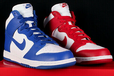 d4d44e6094d4 New Nike Dunk Retro QS White Blue Red Custom School Basketball Shoes - Size  10.5