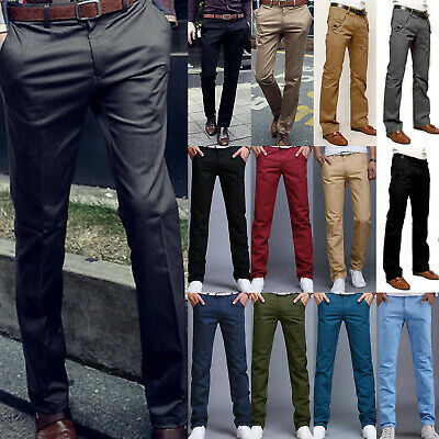 Mens Formal Work Slacks Dress Pants Slim Fit Straight Casual Trousers Business