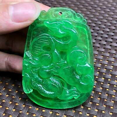 Asian/oriental Antiques The Cheapest Price Collectible Chinese Rare Handwork Natural Green Jadeite Jade Rich Leaf Pendant
