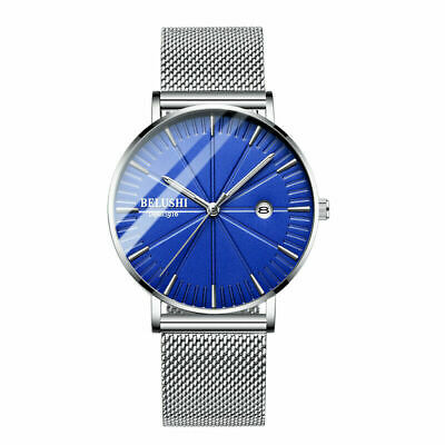 Ultra Men's Slim Quartz Stainless Steel Analog Date Mesh Band Dress Wrist Watch