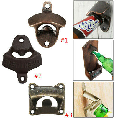 Rustic Cast Iron Wall Mounted Beer Bottle Opener Soda Glass Cap Bar Kitchen Tool