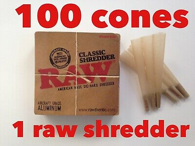 Raw Classic 2 Pie Grinder&shredder+RAW Classic 98 special Size Cones (100 Pack)