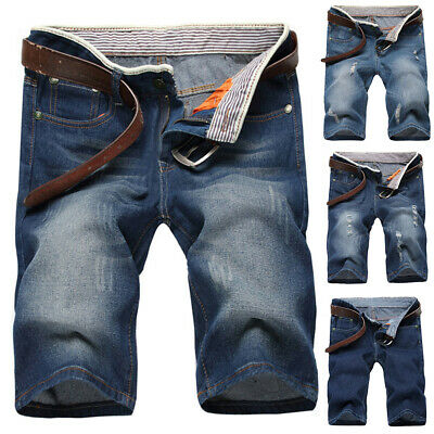 Men's Summer Ripped Straight Denim Shorts Jeans Destroyed HoleFifth Pants Newly