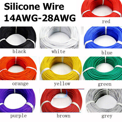 14AWG~28AWG Flexible Stranded Silicone Cables Wire Tinned Copper Line 5M/10M