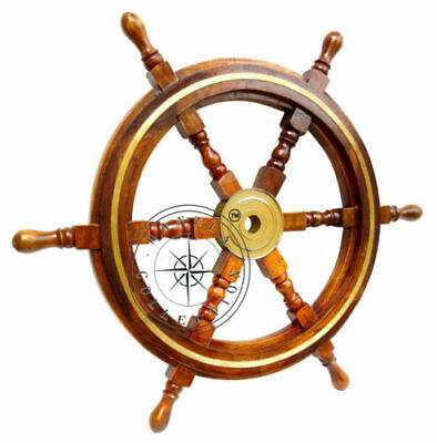 "24"" Captain's Wooden Ship Steering Wheel With Brass Ring Nautical Sailing Decor"