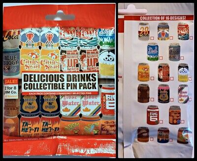 Disney Collectible Pin Pack DELICIOUS DRINK Soda Mystery Bag 5 Pins Sealed NEW
