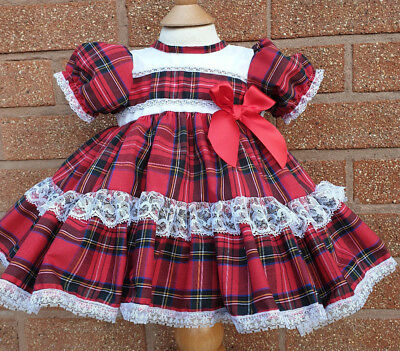 Dream 0- 3 Years  Puffball  Red Tartan Lined Frilly Spanish Dress Or Reborn