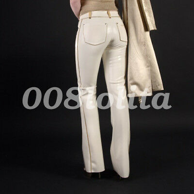 New 100% Rubber latex White sexy slim trousers bag hip tight trousers XXS-XXL
