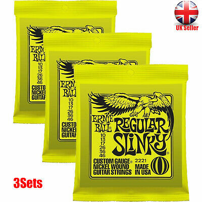 3 sets - Ernie Ball 2221 Regular Slinky Electric Guitar Strings 10-46 Sealed New