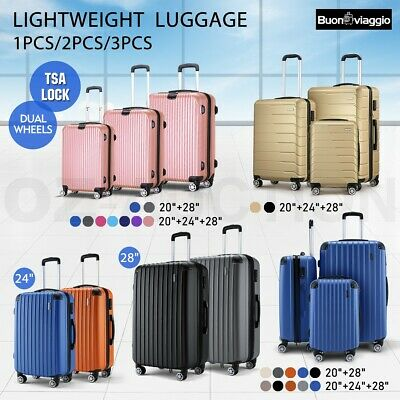 Buonviaggio 1/2/3PCS Luggage Suitcase Trolley Set TSA Travel Hard Case Organiser