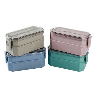 Portable Nesting Double Layer Food Lunch Box Bento Box Lunch Meal Storage Case C