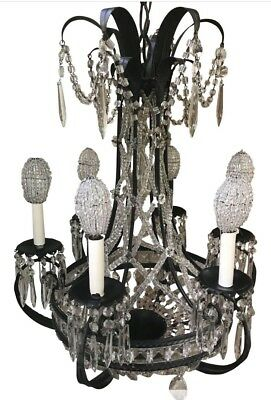 Vintage Italian Crystal Macaroni Beaded Chandelier Blk Metal Czech Bead Shade