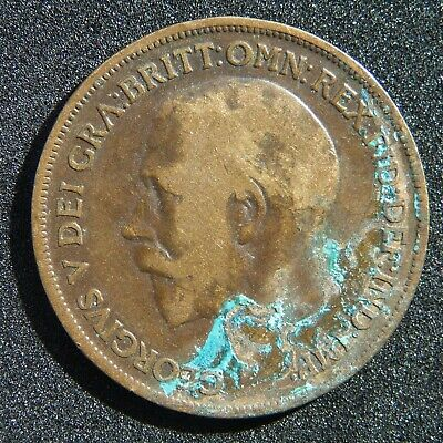 1918 One Penny Coin , George V British Gb Uk