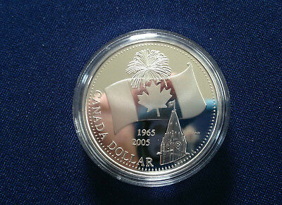 2005 Canada 150th 40th Anniversary of National Flag Proof Silver Dollar E5213