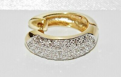 7cdb0b7d4 Men's 9ct Yellow Gold 0.20ct Diamond Chunky Huggie Cuff Hoop Earring