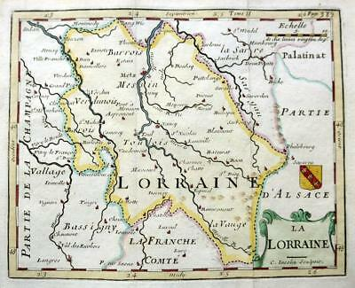 LORRAINE  FRANCE METZ  c1717  GENUINE COPPER PLATE ENGRAVED  ANTIQUE MAP