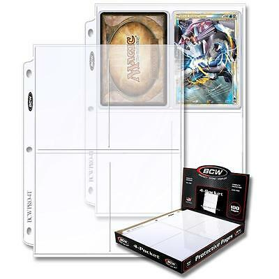 1 Box of 100 BCW 4 Pocket Pages Postcard Photo Storage Sheets Holders