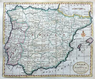 SPAIN PORTUGAL  BY THOMAS KITCHIN c 1792 GENUINE ANTIQUE ENGRAVED MAP