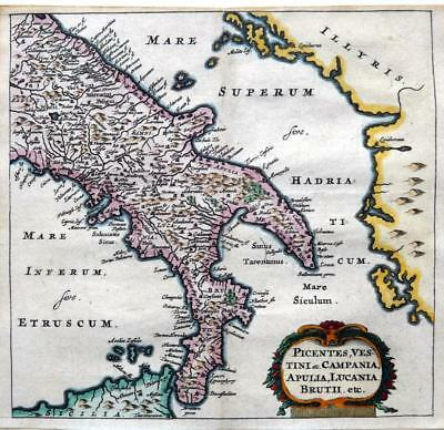 ITALY SOUTHERN PART  BY CLUVER / BERTIUS c1661 GENUINE 350 YEAR OLD ANTIQUE MAP