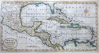WEST INDIES  BY THOMAS KITCHIN c 1792 GENUINE ANTIQUE COPPER ENGRAVED MAP