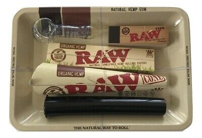 Raw Rolling Tray Bundle King Size Papers Raw Cones Tips Peanut Bowl Doob Tube