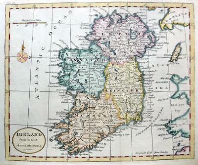 IRELAND  BY THOMAS KITCHIN c1792 GENUINE COPPER ENGRAVED ANTIQUE MAP.