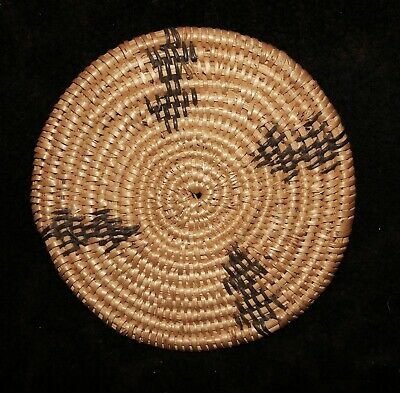 "Rare Paiute Native American Basket Plaque or Trivet 6 5/8""d x 1/2""h"