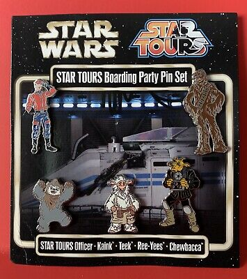 New Disney Star Wars (Set 5 Metal Pins) STAR TOURS Attraction WDW Chewbacca
