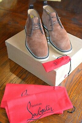 Beautiful Mens 100% Authentic Christian Louboutin Tobacco Suede Boots 44.5 11.5