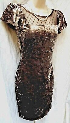 REDHERRING Stunning Crushed Velvet Pencil Dress  Mink & Brown Mix  SIZE 8