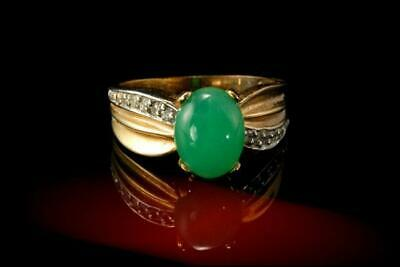 Vintage Chinese Apple Green Jade Cabochon Diamond 14K Gold Ring A807-23