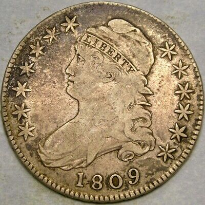 1809 Cap Bust Iii Line Edge Silver Half Dollar Very Scarce Appealing Crusty Tone